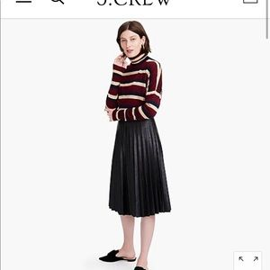 Faux-leather pleated midi skirt from JCrew